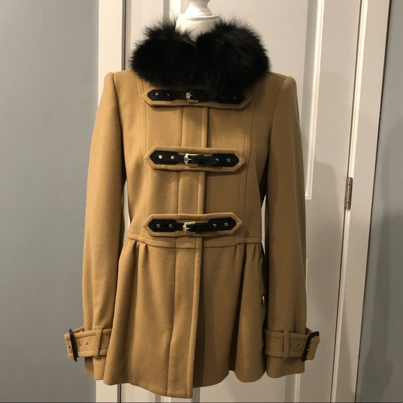 Burberry wool cashmere blend coat real fur collar